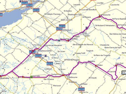 Richmond – Marbelton – Ham-Sud – rte 257 – Weedon – Thetford – Plessisville – Drummondville 1