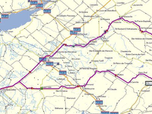 Richmond – Ham-Sud – rte 257 – Weedon – Thetford – Plessiville – Drummondville